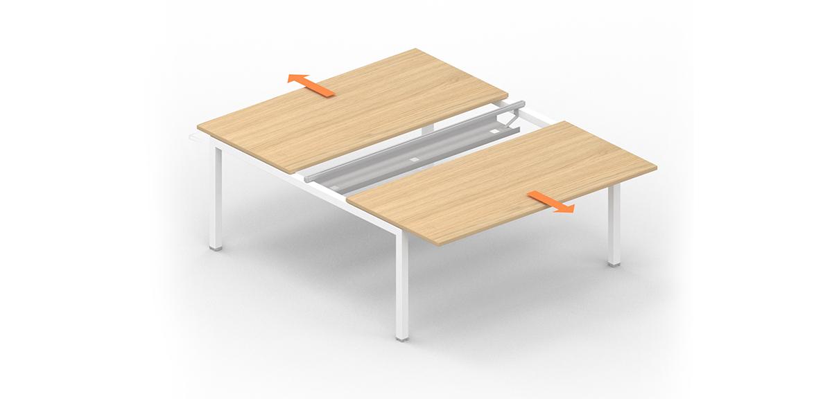 Desk bench slidable